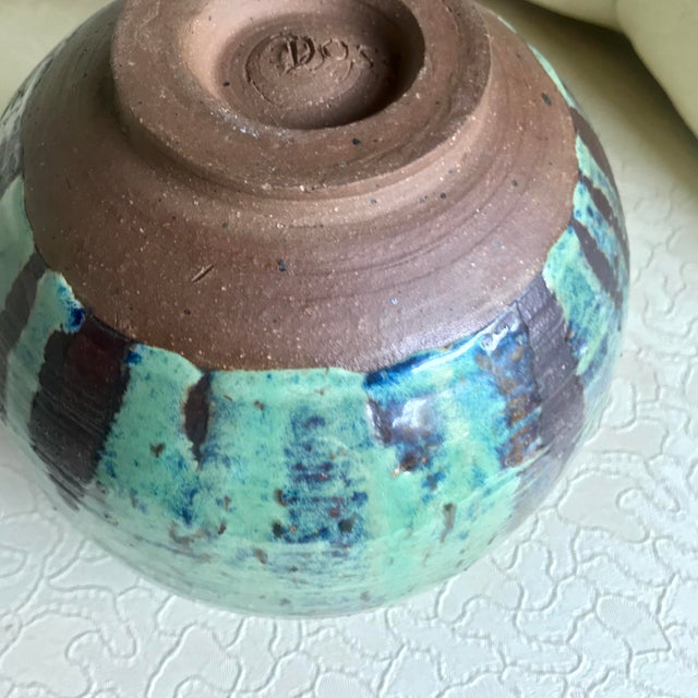 1960s Arts and Crafts Curly Handle and Mottled Glaze Iridescent Clay Pot For Sale In Baltimore - Image 6 of 13