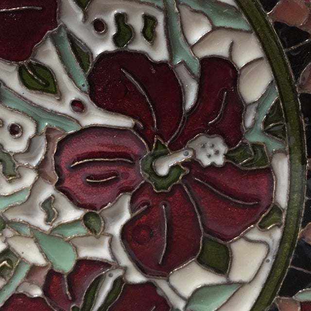 Hand Painted Floral Butterfly Cloisonné Decorative Plate For Sale - Image 11 of 11