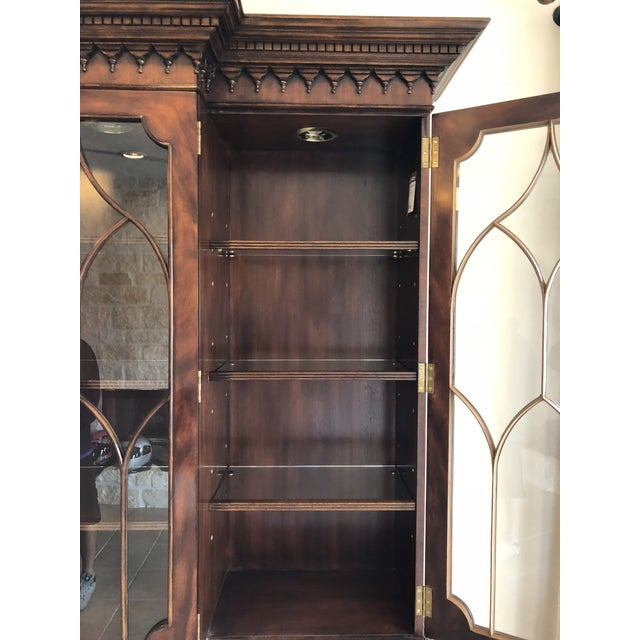 Brass Lloyd Buxton Thomas Mahogany Breakfront China Cabinet For Sale - Image 7 of 13
