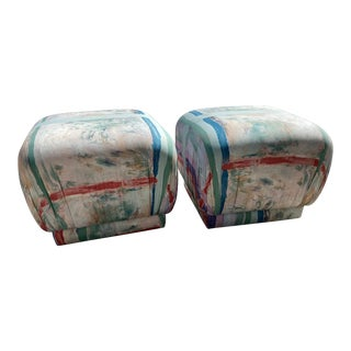 Mid-Century Modern Karl Springier Style Souffle Poufs Rolling Stool Ottomans- a Pair For Sale
