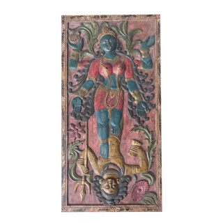 Antique Indian Maa Kali Shakti Kundalini Hand Carved Goddess Protector Door Panel For Sale