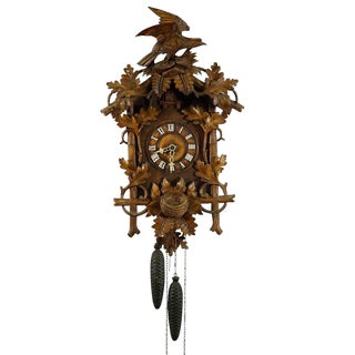 Black Forest Carved Wood Cuckoo Clock With Bird on Top For Sale