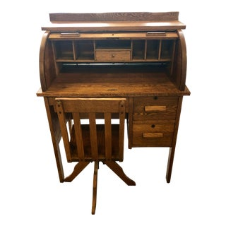 Early 1900's Child's Roll Top Desk With Swivel Chair - 2 Pieces For Sale