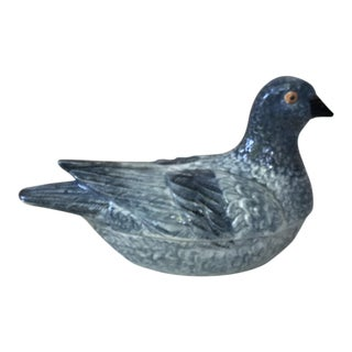 French Blue Majolica Pigeon Tureen Circa 1950 For Sale