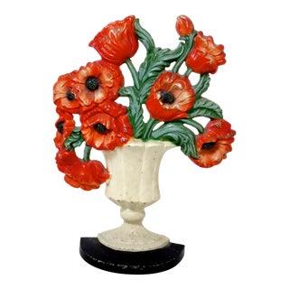 Hubley Poppy Flowers Cast Iron Doorstop Circa 1920s For Sale