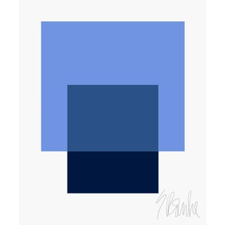 """The Interaction of French Blue and Navy Blue"" Fine Art Print 45"" X 55"" by Liz Roache For Sale"