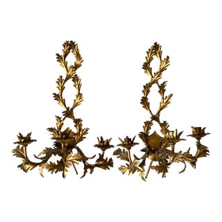 Italian Mid-Century Gilt Brass Triple Candle Holders Sconces - a Pair For Sale