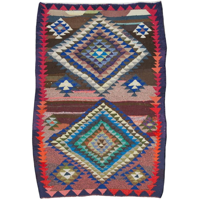"Vintage Persian Flatweave Kilim Rug – Size: 5"" X 7' 4"" For Sale"