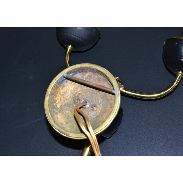 André Arbus Bronze & Black Hand Two-Arm Sconce Wall Light Neoclassical - Pair For Sale - Image 10 of 13