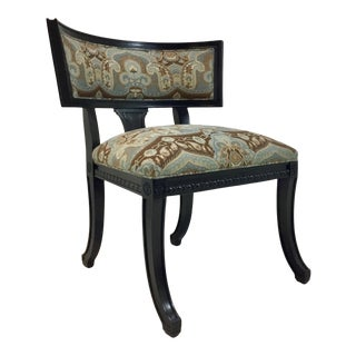 Hickory Chair Transitional Blue and Chocolate Brown Regan Klismos Chair For Sale