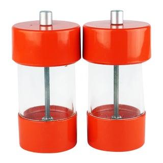 Mid-Century Modern Wm Bounds Orange Plastic Salt & Pepper Grinders - a Pair