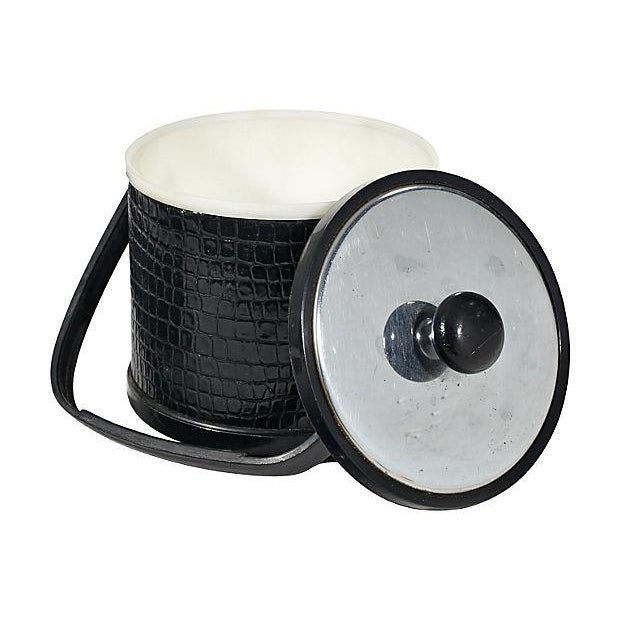 Mid-Century Modern 1970s Textured Vinyl Ice Bucket For Sale - Image 3 of 4