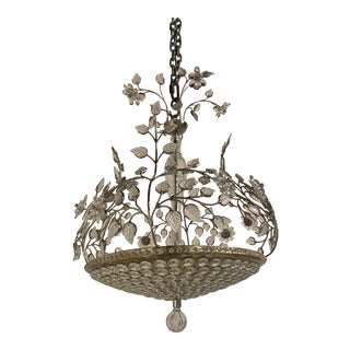 1930 French Silver Plated Chandelier For Sale