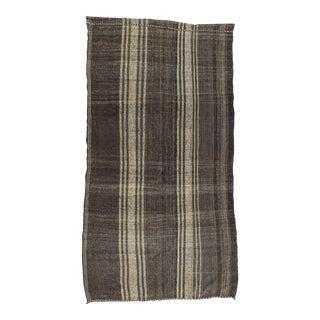 Vintage Vertical Striped Black & White Turkish Rug - 5′2″ × 9′10″ For Sale