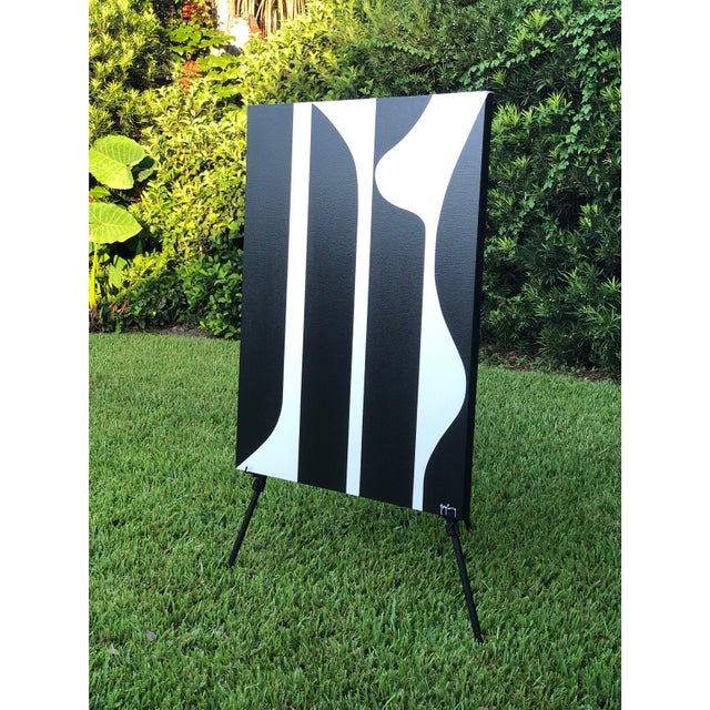 Abstract Large Modern Black & White Painting by Tony Curry For Sale - Image 3 of 4