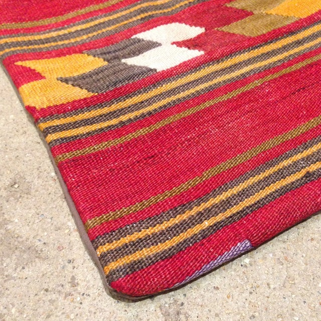 Vintage Kilim Pillow in Red & Gold - Image 3 of 4