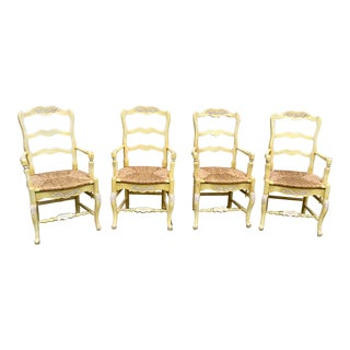 Antique French Rushed Arm Chairs - Set of 4 For Sale