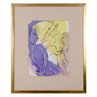 """Angel of Paradise"" Marc Chagall Bible Series Lithograph For Sale"