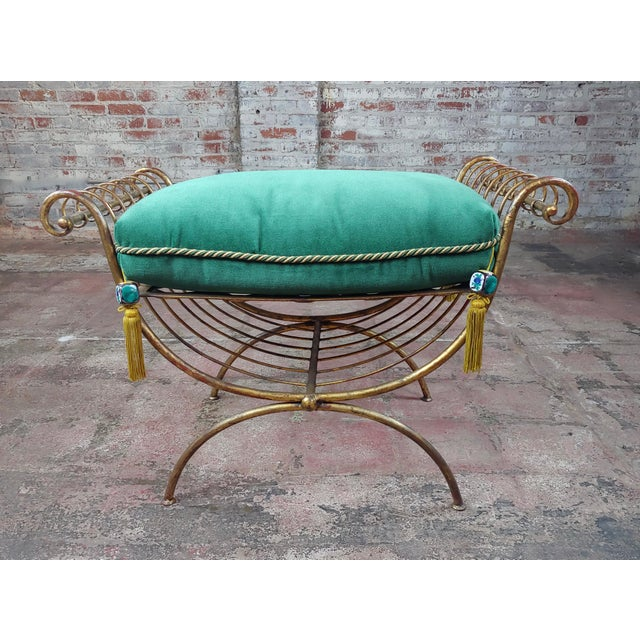 French Beautiful Gilt Metal French Lady's Bench W/Velvet Pillow -C1920s For Sale - Image 3 of 10