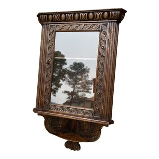 Antique English Oak Corner Cabinet Hanging Wall Cabinet For Sale