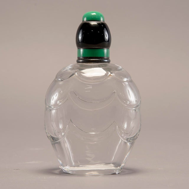 Glass Baccarat Art Decoand Sterling Perfume Bottle With Green Top For Sale - Image 7 of 13