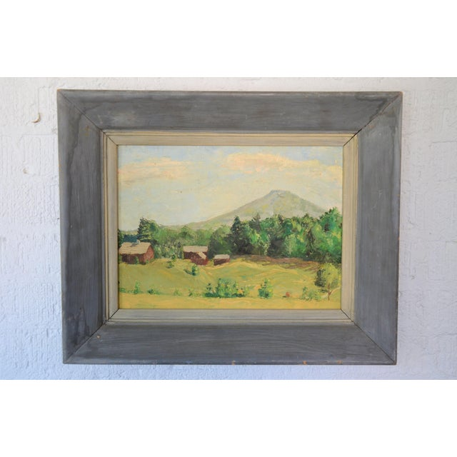 Canvas Framed Mountain Farm Landscape Painting For Sale - Image 7 of 7