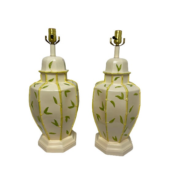 Cream Vintage 1960s Faux Bamboo Yellow Table Lamps - a Pair For Sale - Image 8 of 8