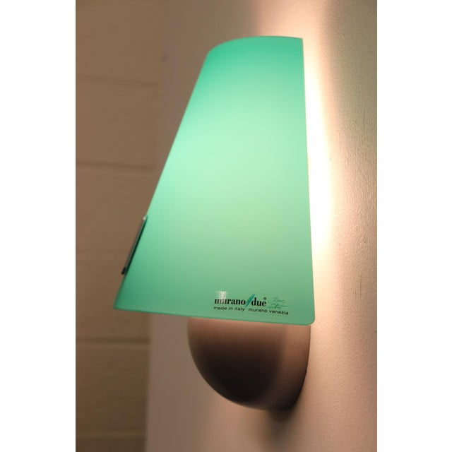 Mid-Century Modern Murano Green Glass Wall Lamp For Sale In New York - Image 6 of 12