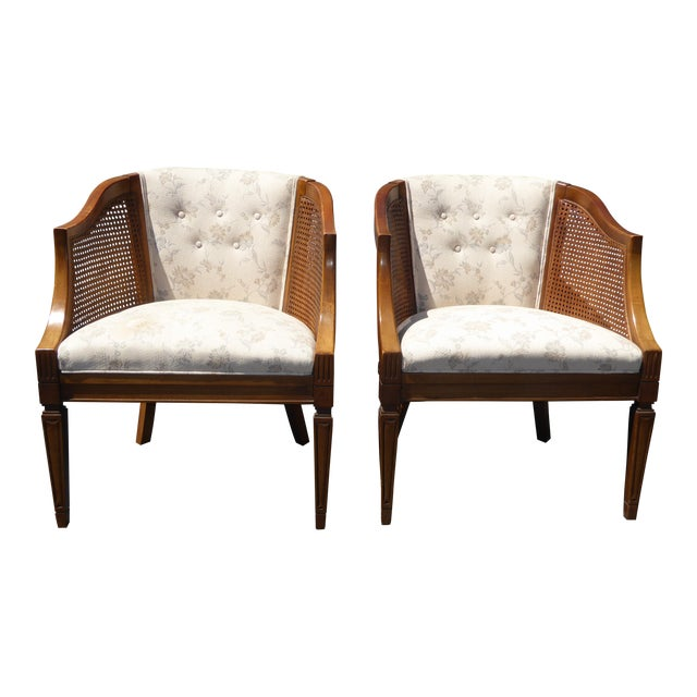 Vintage Wood & Cane White Club Chairs For Sale
