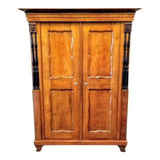 Early 19th Century Biedermeier Cherry Armoire For Sale