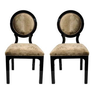 Pair of Hollywood Regency Side Chairs in Luxurious Embossed Velvet