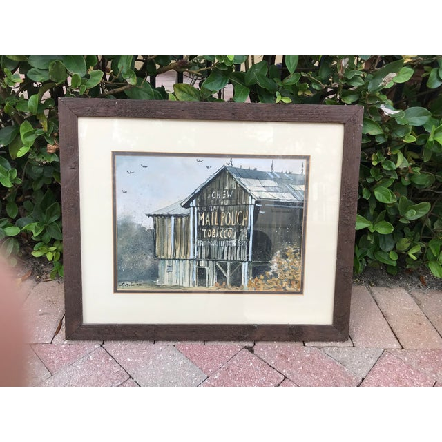 Original Watercolor Painting of a Southern Tobacco Barn With Barn-Side Advertisement For Sale In West Palm - Image 6 of 6