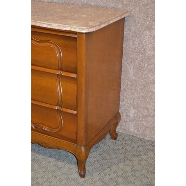 1950s French Provincial Solid Cherry Marble Top Dresser For Sale In Philadelphia - Image 6 of 13