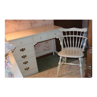 Ethan Allen Early American White Desk and Chair - 2 Pieces For Sale