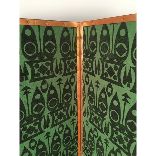 Hand Block Printed Black and Green Fabric Four Panel Screen For Sale - Image 10 of 11