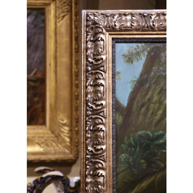 Green Large Mid-Century French Allegory Oil on Canvas Painting in Carved Frame For Sale - Image 8 of 10