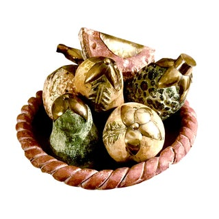 Rustic Terra Cotta Braided Edge Bowl With Brass Ornamented Hand Painted Fruit - Set of 8 For Sale