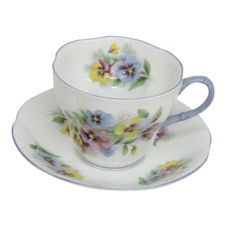 Mid 20th Century Royal Albert Blue Floral England Bone China Tea Cup and Saucer For Sale