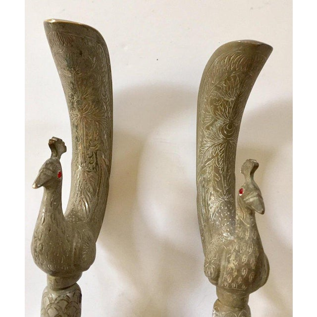 Metal Large Peacock Shaped Brass Silvered Door Handles - a Pair For Sale - Image 7 of 13