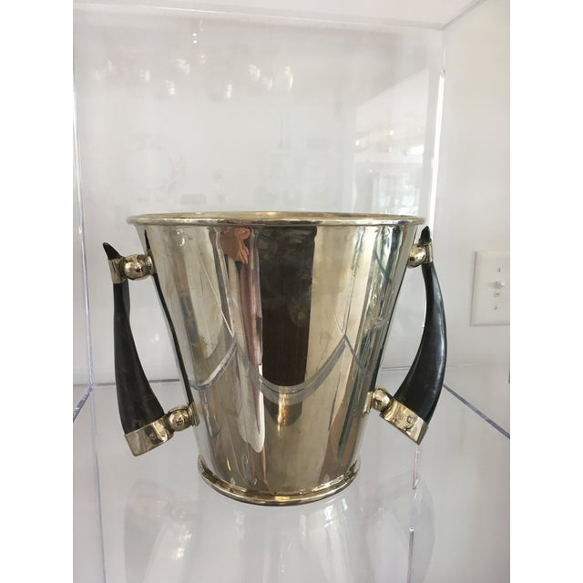 Silver Plate Wine Cooler Ice Bucket With Horn Handles For Sale In West Palm - Image 6 of 13