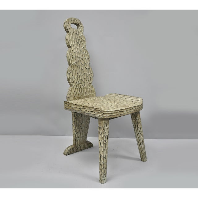 Contemporary High Back Carved Wood Side Chair For Sale - Image 12 of 12