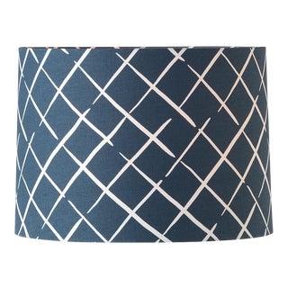 Medium Madcap Cottage Indigo Trellis Print Fabric Lamp Shade For Sale