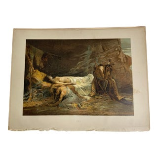 """1892 Antique Scene From Longfellow's """"Hiawatha"""" Color Lithograph For Sale"""