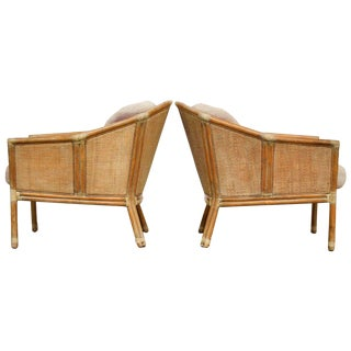 McGuire Geometric Bamboo Rattan Club Chairs - a Pair