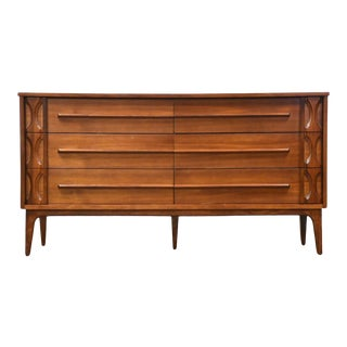 Walnut Mid Century Long Dresser For Sale