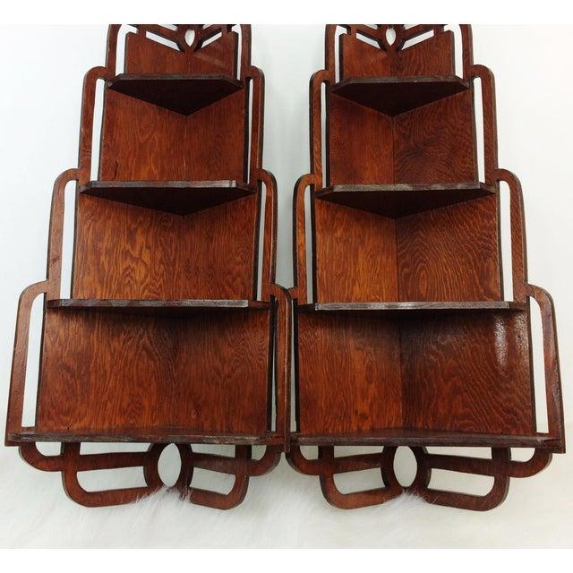 Vintage Wood Corner Curio Display Shelves - A Pair - Image 2 of 6