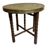 Image of Moorish Small Etched Brass Top Table With Twisted Legs For Sale