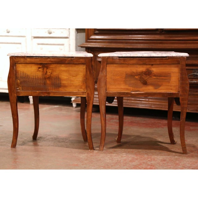 Vintage Louis XV Burl Walnut Bombe Nightstands Chests With Marble Top - a Pair For Sale - Image 10 of 11
