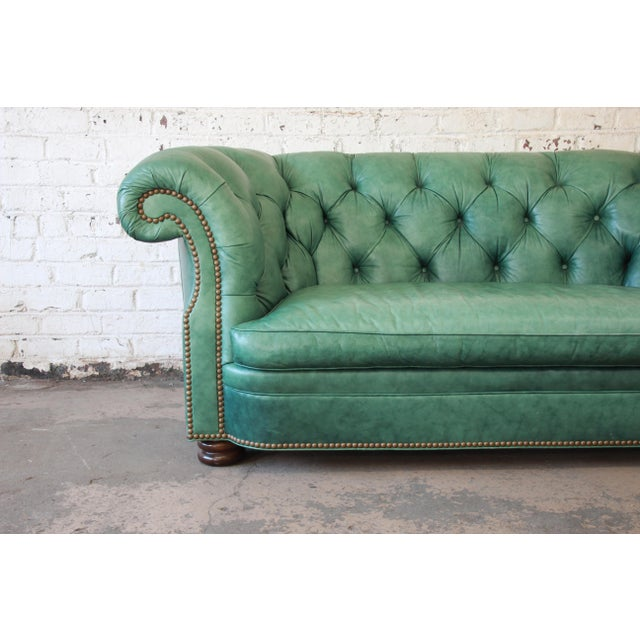 Hancock And Moore Tufted Leather Sofa: Superb Vintage Teal Tufted Leather Chesterfield Sofa By