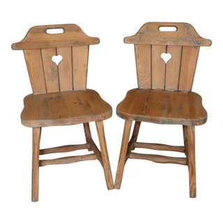 "Pair of 1915 Austrian Rustic Hand-Carved ""Alpine"" Chairs Pair"